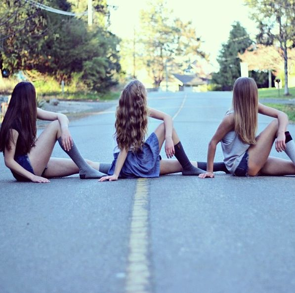 Best friend photo shoot! Lol and then have them look like a car passed through them