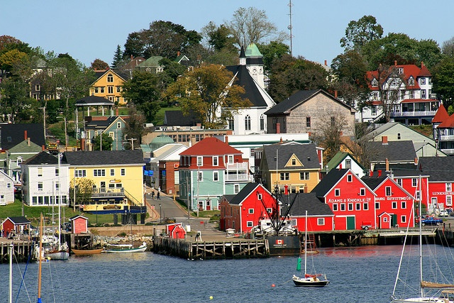 "Lunenburg, nova scotia. World Heritage Site. My husband's mother grew up here & her father & uncles built some of the wonderful buildings here-the ""Morash bump"" was their specialty"