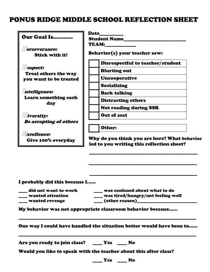 restorative justice reflection sheet middle school ...