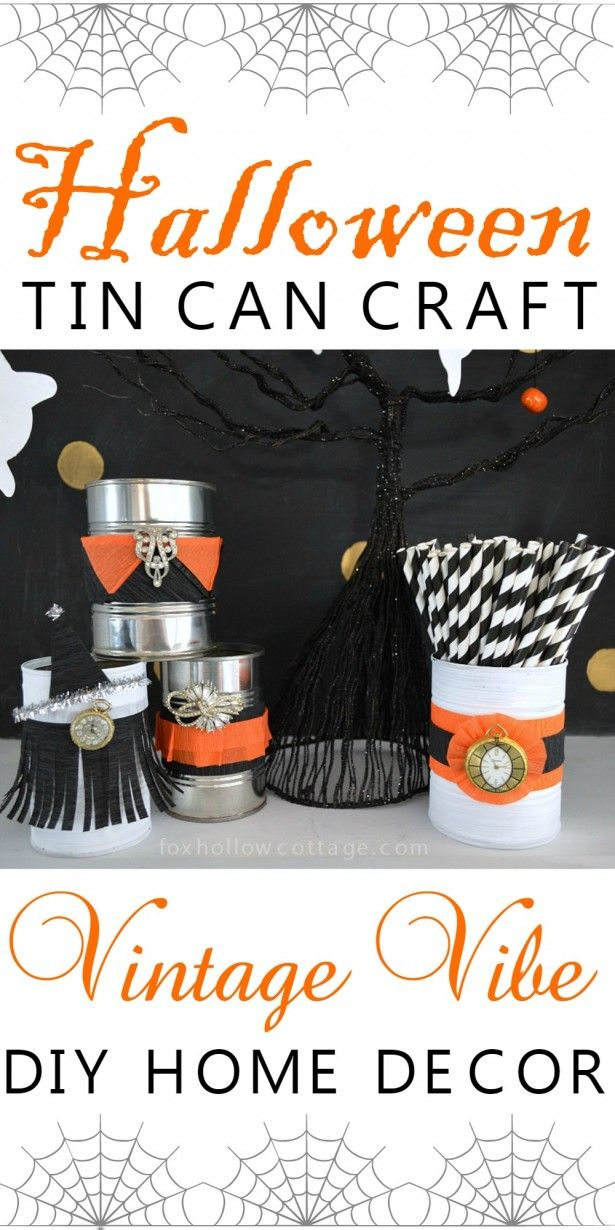 Vintage Vibe DIY Halloween Tin Can Craft from Fox Hollow Cottage