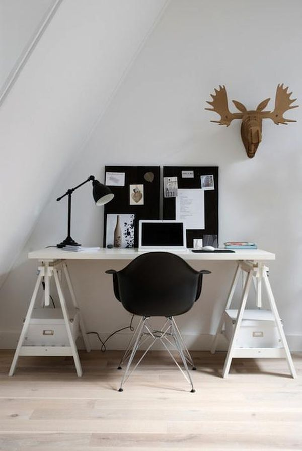 A Room by Room Guide to Scandinavian Style Simple cheap office set up