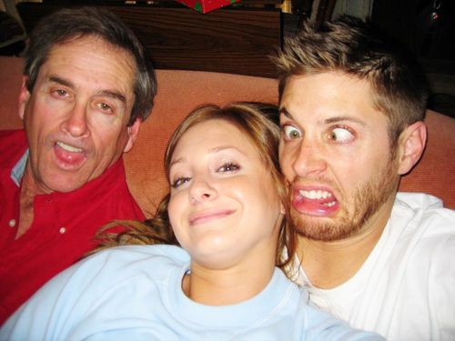 So that Jensen and his dad, and his sister, I think. Well, what do you expect from an older brother (or any brother at all, really) when you're trying to take a nice picture? *shakes head*
