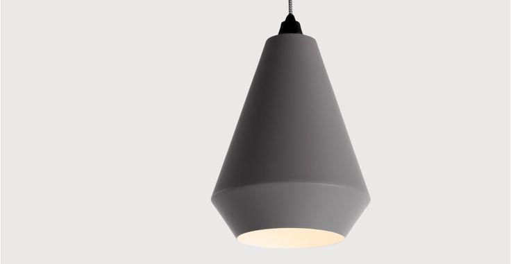 Kirkby, abat-jour conique, gris | made.com
