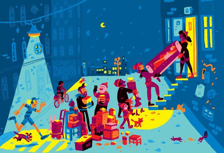 Cover illustration for Helsinki-info magazine by Ilja Karsikas, 2015