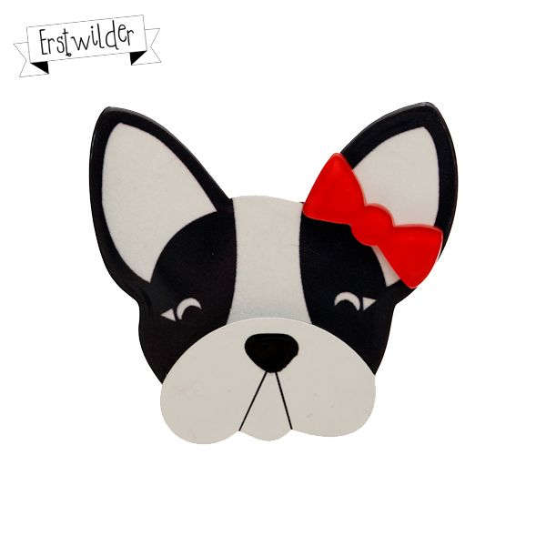 """Felicia the Frenchie Resin Brooch - """"Felicia is rather fussy but totally fabulous!"""""""