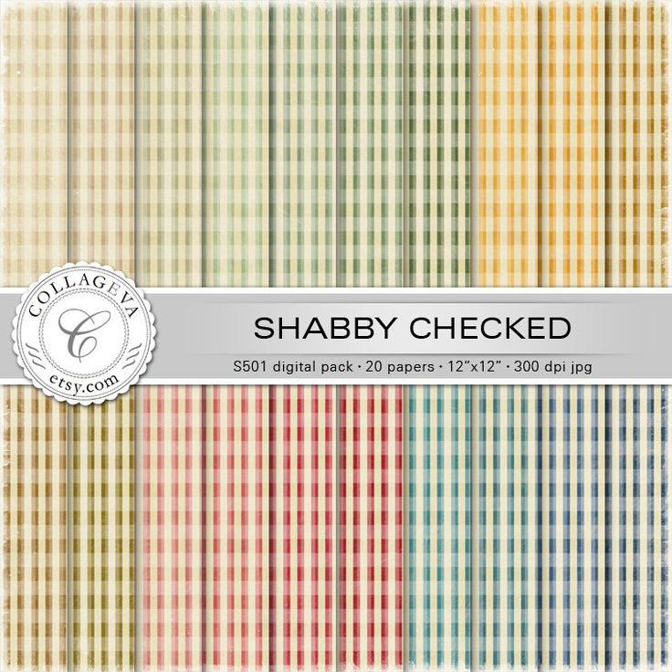 """Shabby Checked Digital Paper Pack, 20 printable sheets 12""""x12"""" Distressed Vintage Plaid, Grunge Textured, Pale colors, Scrapbooking (S501) by collageva on Etsy"""