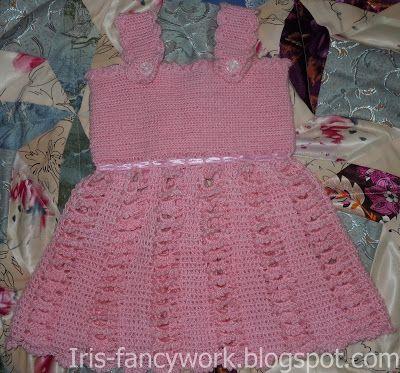 My Fancywork Blog: Детский розовый сарафанчик связанный крючком.