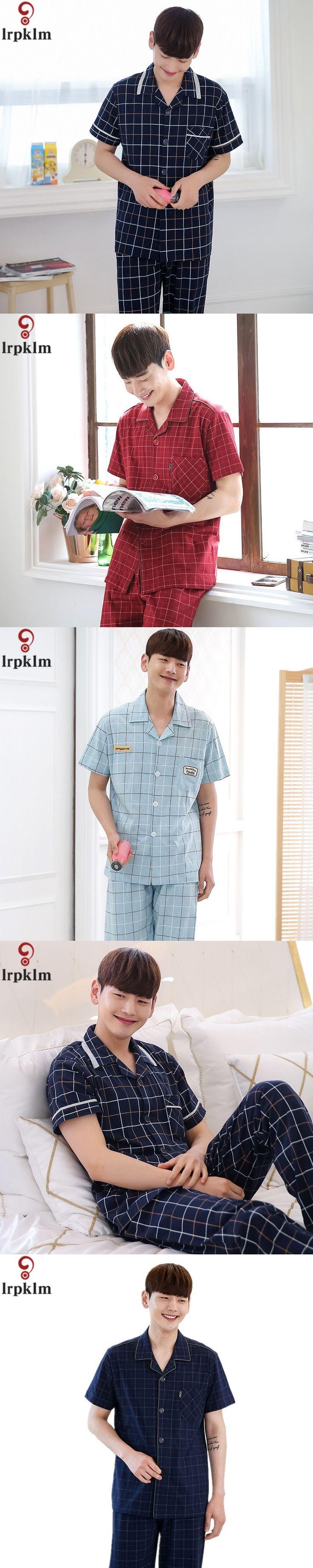 NEW Man's Sleepwear Cotton Pajamas Set Short Sleeve Pyjamas Trousers Men Lounge Sleep Pajama Set Plus size XXXL SY672