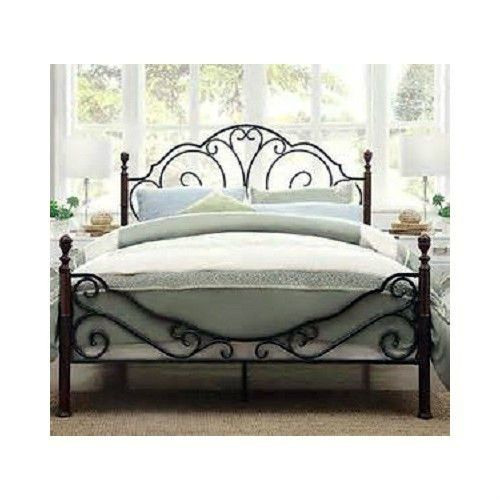 Queen wrought Iron Bed vintage Antique Metal wood headboard frame brass Platform