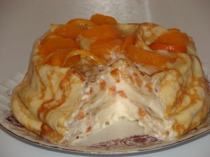 Tort de clatite cu frisca, portocale si rom Jamaica