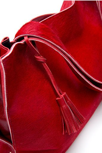 Carmella Cow Hide Tote in Red | SARAH CONNERS