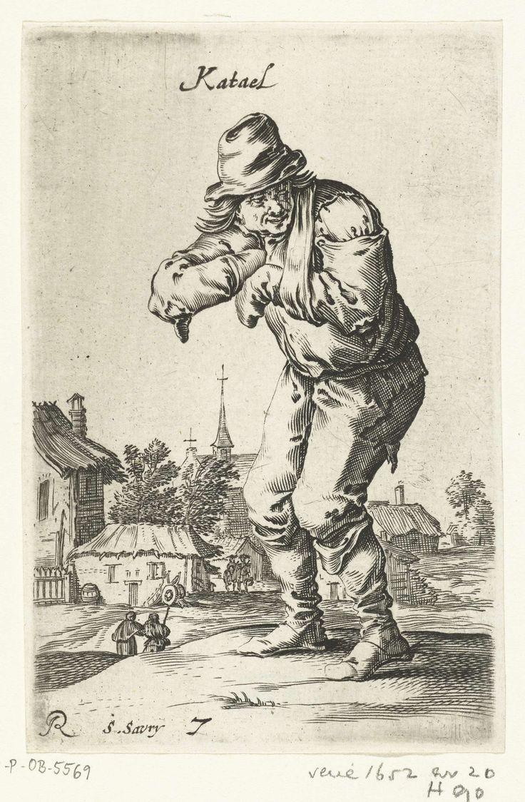 Salomon Savery | Staande voorovergebogen bedelaar met arm in draagdoek, Salomon Savery, 1638 - 1665 | Staande grijnzende bedelaar in gescheurde kleding met de arm in een draagdoek. Op de achtergrond een dorp. De prent maakt deel uit van een tiendelige serie met voorstellingen van bedelaars en boeren waarin ook verschillende ongelukkige figuren uit de Eerste Engelse Oorlog zijn opgenomen, ca. 1652-1654.