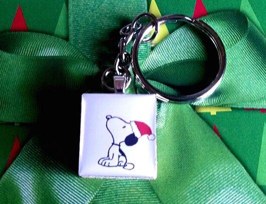 Snoopy Santa Scrabble Key Ring