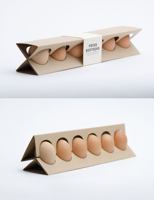 An innovative package using a small amount of material. It's made of natural microwaved carton and consists of one piece.   Design:  Otília Erdélyi _ Hungary