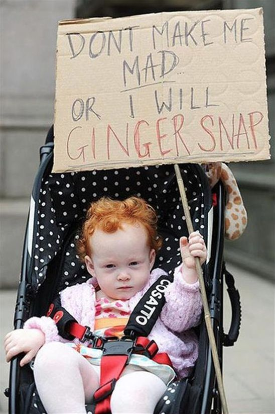Don't Make Me Mad Or I Will Ginger Snap - Baby with Red Hair Holds a Warning Sign  ---- best hilarious jokes funny pictures walmart humor fail