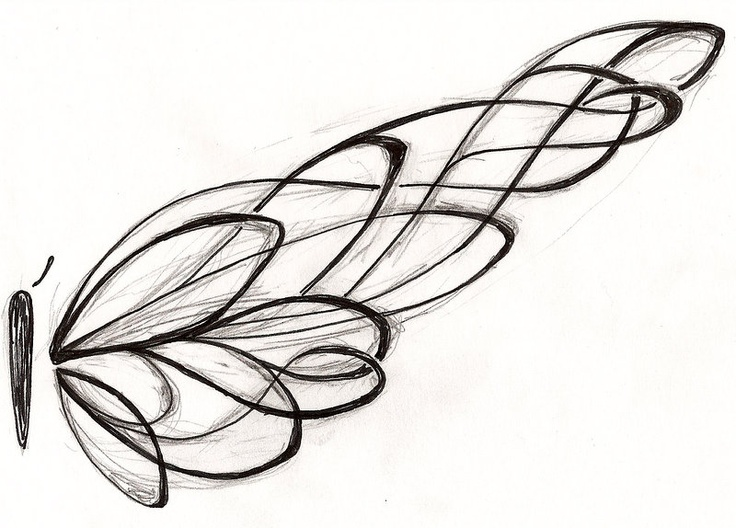 Original drawing, sketch black and white, #butterfly # ...