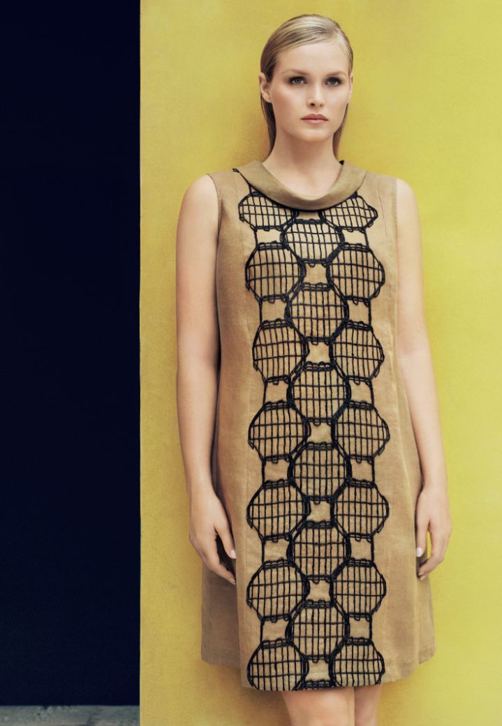 Marina Rinaldi SS14 tobacco brown sheath dress with geometric raffia embroidery.