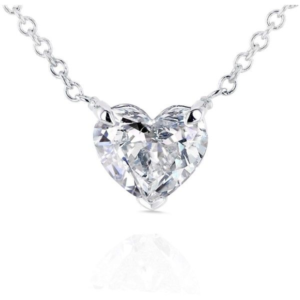 Floating Heart Diamond Necklace 3/4 CTW in 14K White Gold (Certified…