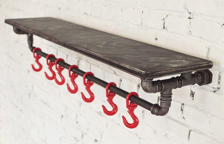 Полка-вешалка для прихожей в стиле лофт