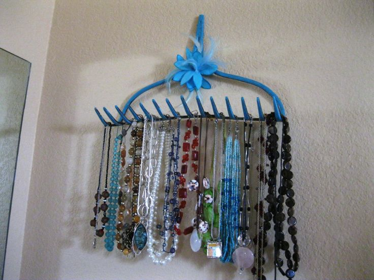 Antique rake jewelry holder - I won a Kindle Fire by entering this in a sustainability contest. woo-hoo!