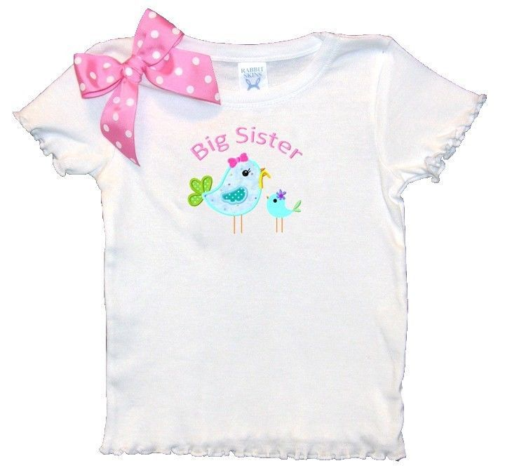 I love the bow.  This would be easy to add to any shirt.  Personalized Toddler Girl Big Sister Shirt Birdies Design Pink Bows Free Ship #HancocksEmbroidery #DressyEverydayHolidaynewsibling