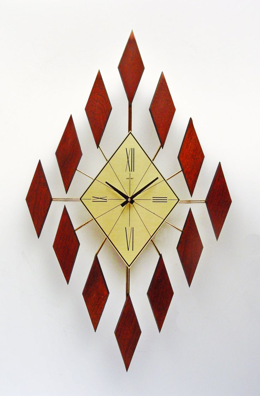 Starburst Clock Of Diamonds, Mid Century Sunburst Diamond Clock, Walnut By  Clubmoderne On Etsy