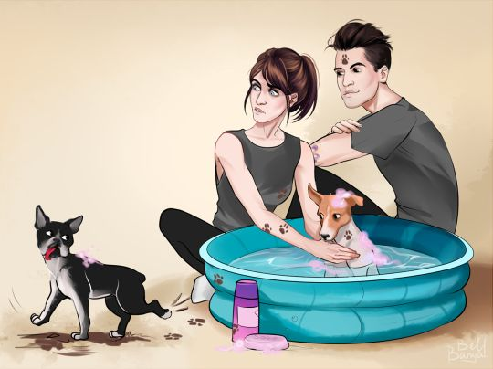 this is adorable. Brendon, Sarah, Bogart, and Penny Lane Urie