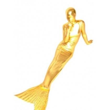 Gold Shiny Metallic Mermaid Trumpet Zentai Suit - Mermaid Suits - Shiny Metallic Zentai Suits - Catsuits & Zentai - StyleSays