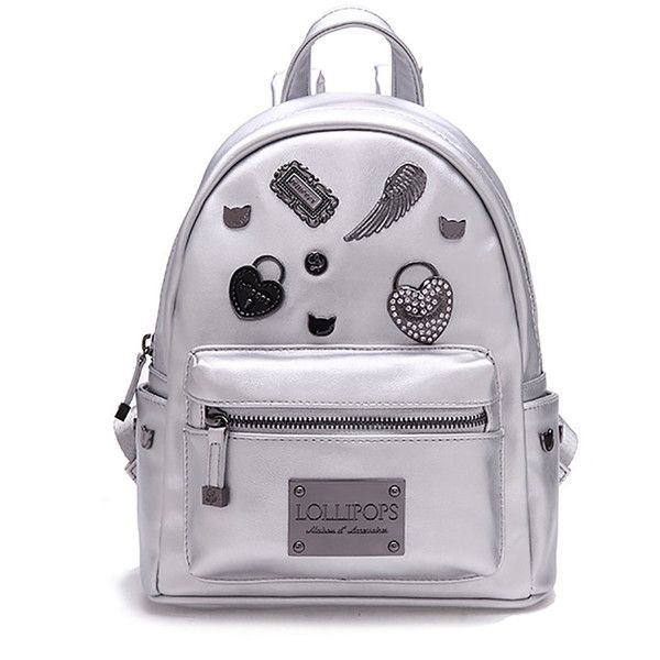 Silver PU Small Casual Backpack (€125) ❤ liked on Polyvore featuring bags, backpacks, backpack bags, silver bag, checked bag, pu backpack and silver backpacks
