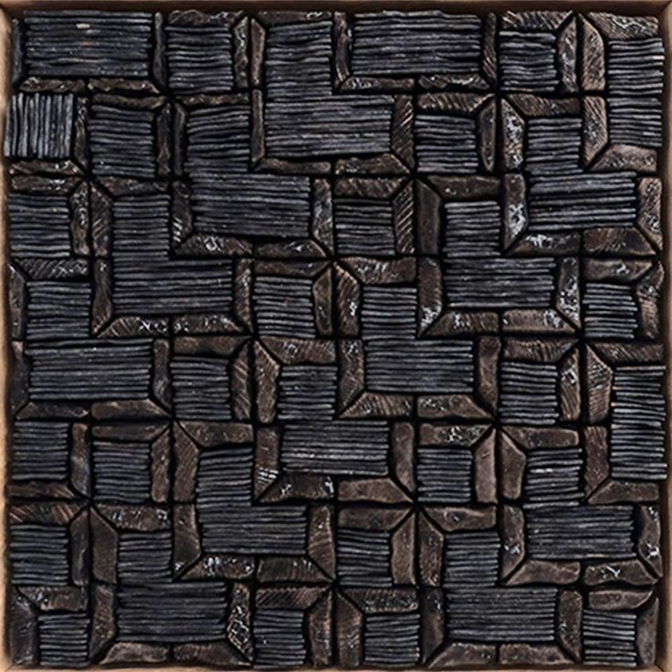 BLACK TESSELLATION  by David Roach Charred cedar, oil on board.                          36 x 36 cm   $880 - SOLD -