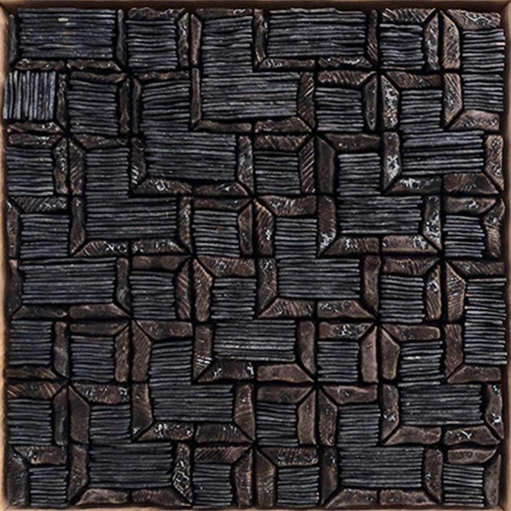 BLACK TESSELLATION  by David Roach Charred cedar, oil on board.                          36 x 36 cm   $880 - SOLD -
