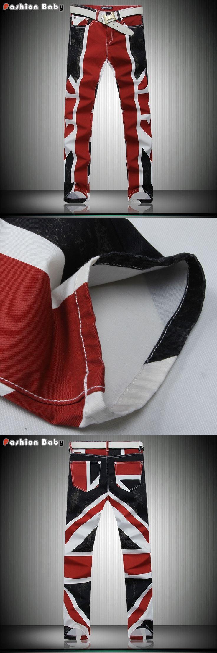 Men's Union Jack Print Pocket Brand Designer Jeans Pant Slim Casual Fashion Quality Straight Night Club British Flag Pencil Pant