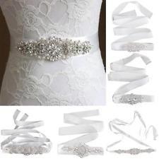 Vintage Crystal Rhinestone Pearls Beads Sash Belt Bridal Wedding Dress Sash Belt