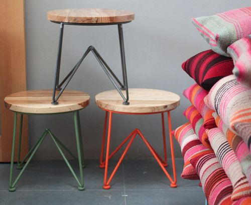 wood + colorful legsSide Tables, Constance Holt, Colors, Heath Ceramics, Jamey Garza, Furniture, San Francisco, Pillows, Stools