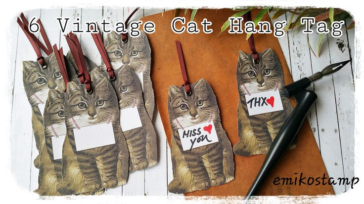 6xVintage Cat Hang Tag Scrapbook Card Making,Thank you tag,Party Favours in Home & Garden, Parties, Occasions, Favours | eBay!