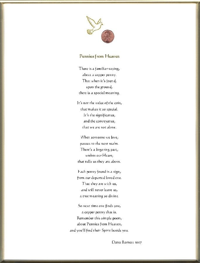 Pennies From Heaven Poem Print Keepsake Adult