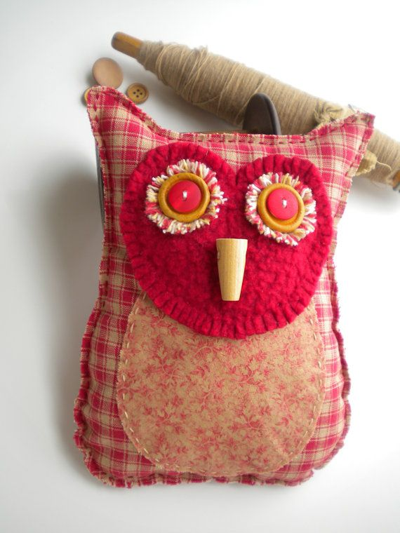 OWL - Pin Cushion - Folk Art - PILLOW - Red and Cream - Pincushion - Woodland Animal - RUBY. $18.00, via Etsy.