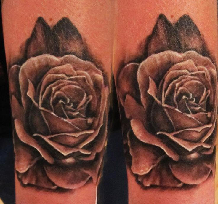 Black and grey rose tattoo realistic