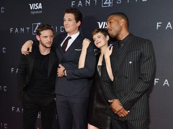 "Actors Jamie Bell, Miles Teller, Kate Mara, and Michael B. Jordan attend the New York premiere of ""Fantastic Four"" at Williamsburg Cinemas on August 4, 2015 in New York City."