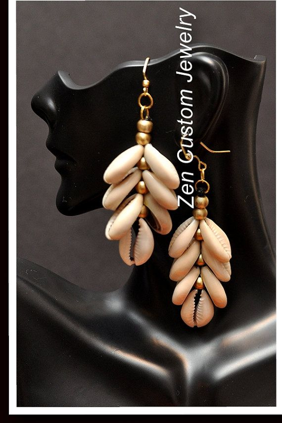 Sale Cowrie Shell Chandelier Earrings by ZenCustomJewelry on Etsy, $15.00