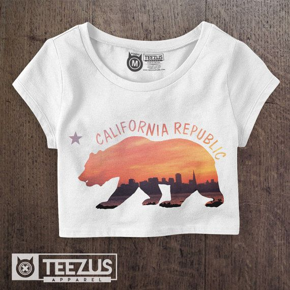 California Flag Shirt   California Crop Top  by TeezusApparel