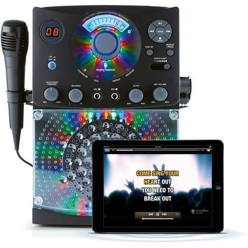 Karaoke System Machine Singing CD Player Bluetooth LED Disco Lights Microphone  #HomeEntertainment