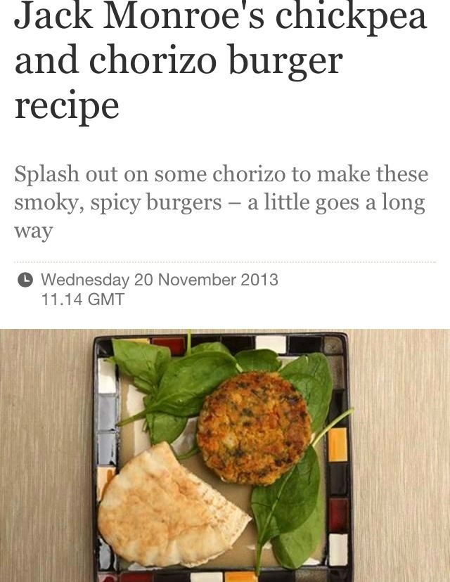 This weeks Guardian recipe: Chickpea and chorizo burgers (and veggie alternative)