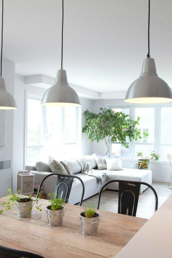Light Wood Table Mix Of Grey And Black Metal Chairs Industrial Pendant Lights Neutral Lounge