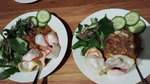 Indonesian, Nasi Goreng Jawa = Javanese fried rice (with salad)