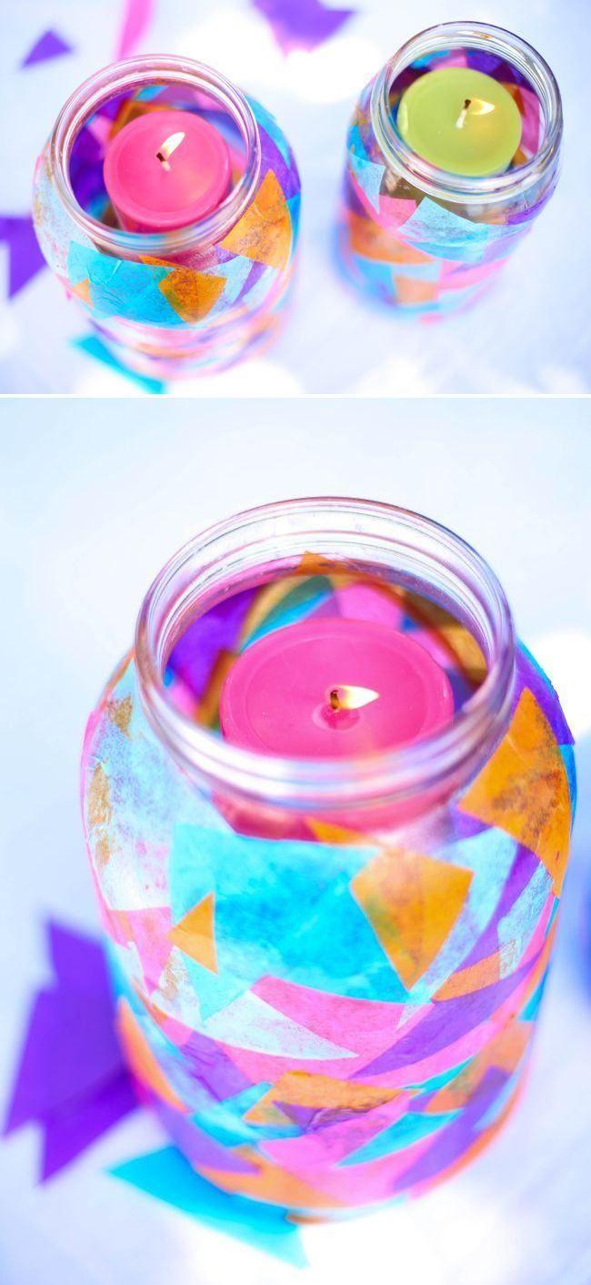lanterne extérieur DIY en bocal décoré de triangles multicolores