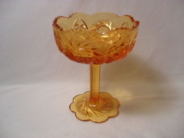 Classic Imperial Glass Sunburst Pattern Saw Tooth Edge Amber Glass Compote #ImperialGlass