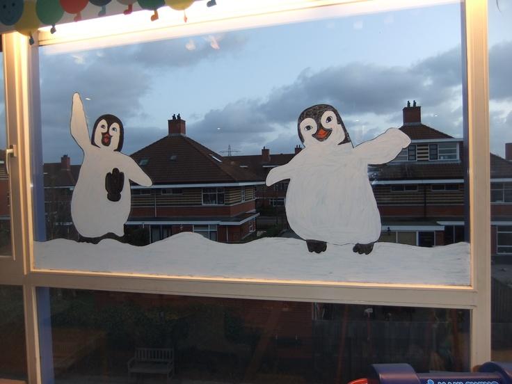 Winter window painting