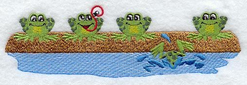 Frogs on a Log Embroidered Flour Sack Hand/Dish Towel by EmbroideryEverywhere on Etsy https://www.etsy.com/listing/158642589/frogs-on-a-log-embroidered-flour-sack