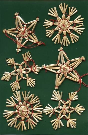 Scandinavian Swedish Norwegian Danish Finnish Straw Christmas Ornaments 6 pc #96